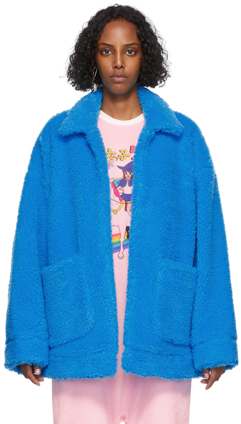 Blue Sherpa Hand-Painted Jacket