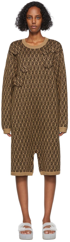 Beige & Brown Wool Jacquard Monogram Romper