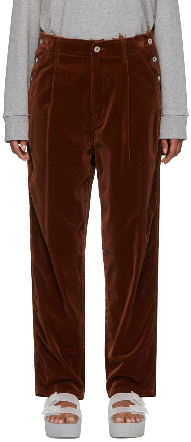Brown Velvet Cut Off Trousers