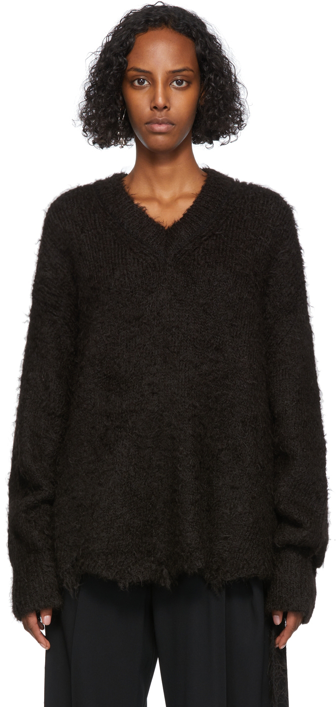 Brown Alpaca V-Neck Sweater