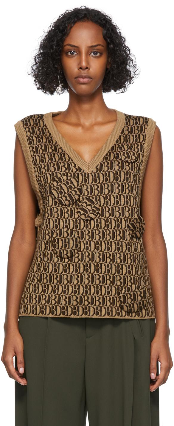 Beige & Brown Wool Jacquard Monogram Vest