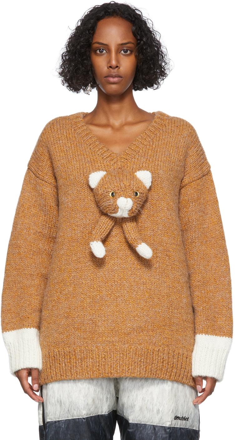 Tan Alpaca Hand-Knit Stuffed Cat Sweater