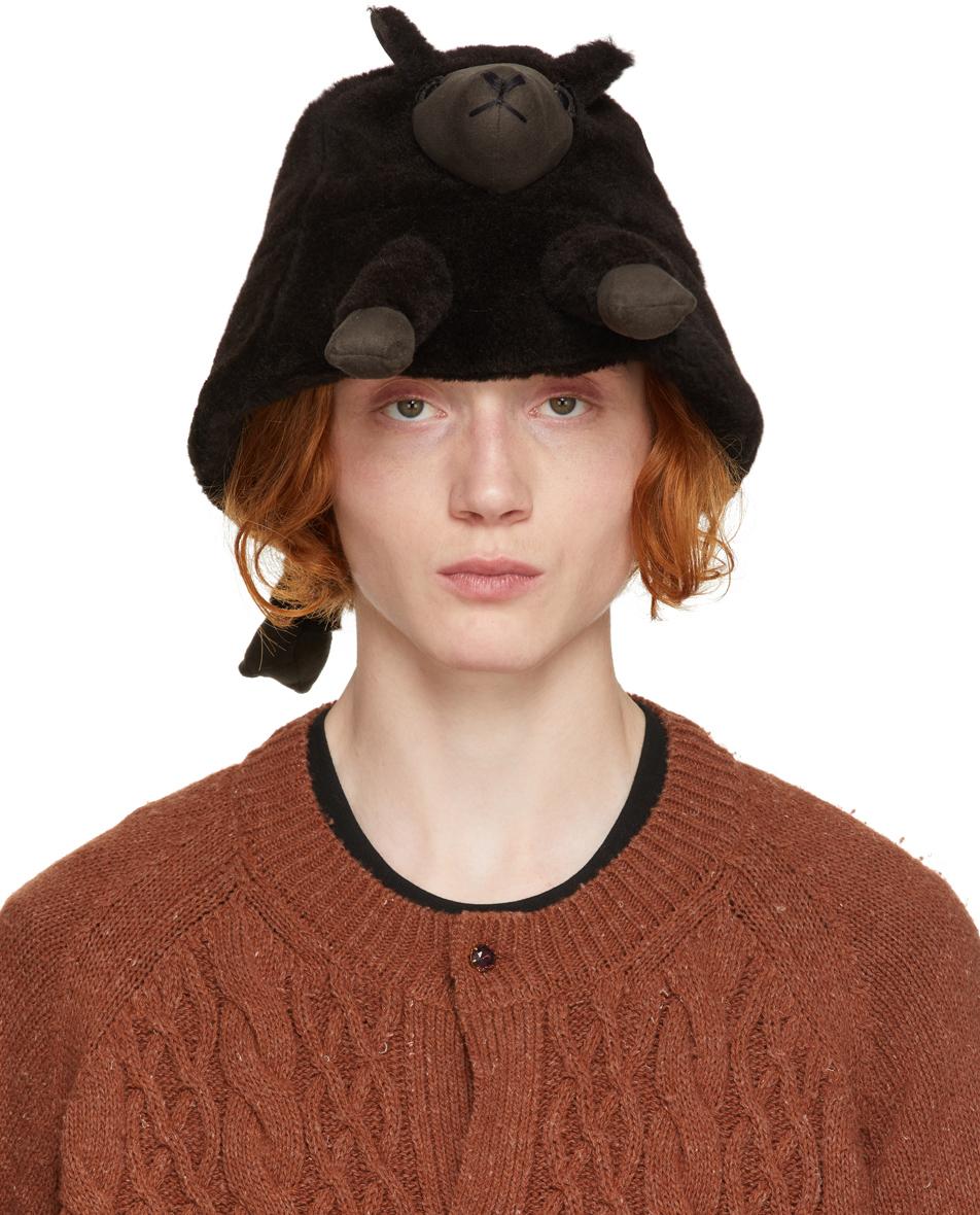 Black Stuffed Animal Fur Hat
