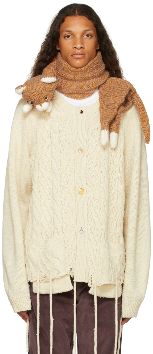 Brown Stuffed Cat Scarf