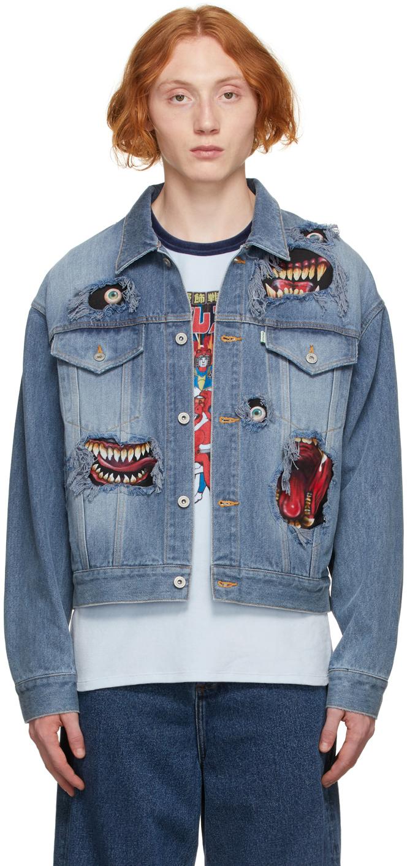 Blue Denim Graphic Print Jacket