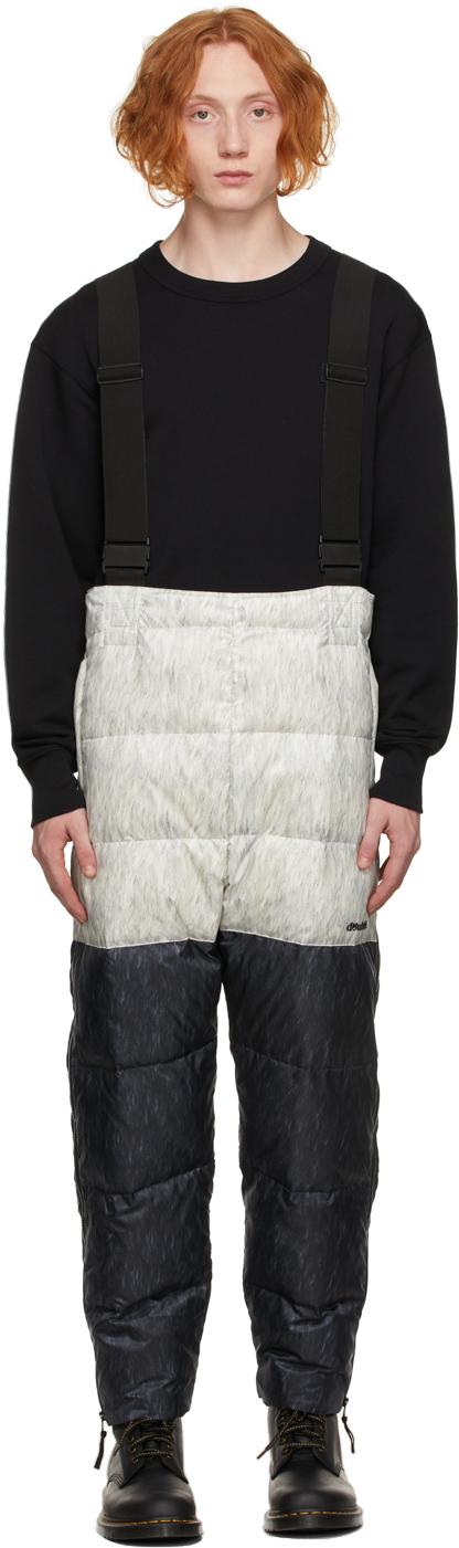 Grey & Black Down Panda Costume Pants