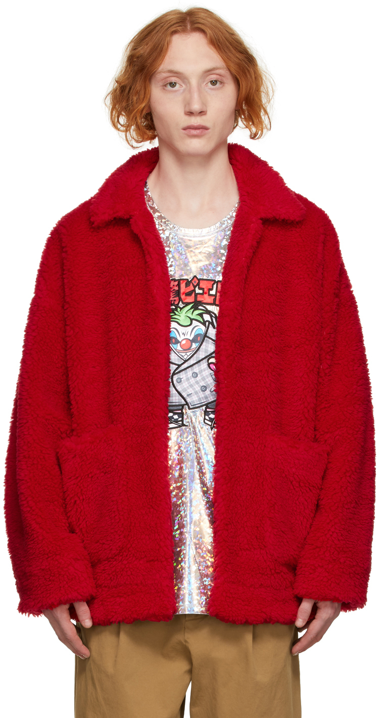 Red Sherpa 'Painted' Coat