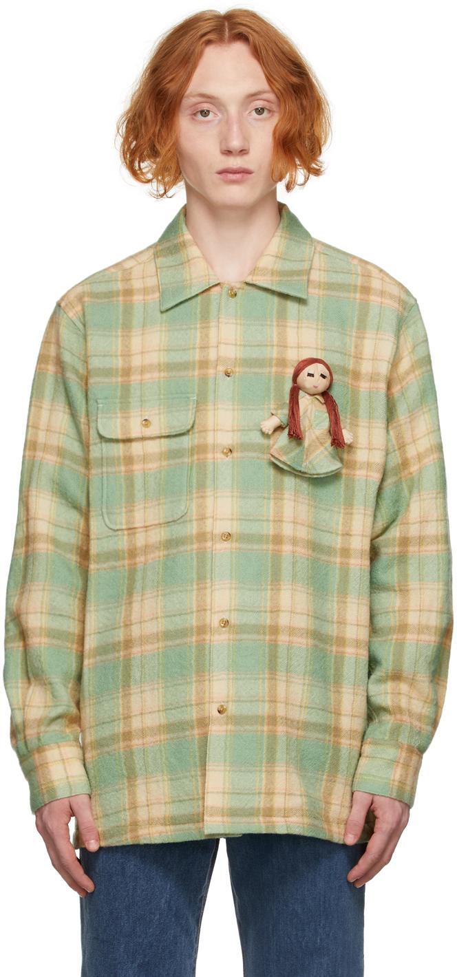 Green & Beige Doll Flannel Shirt