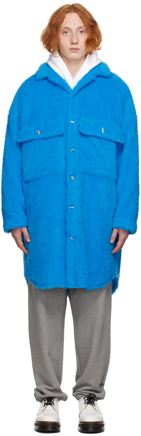 Blue Sherpa Fleece Badge Coat