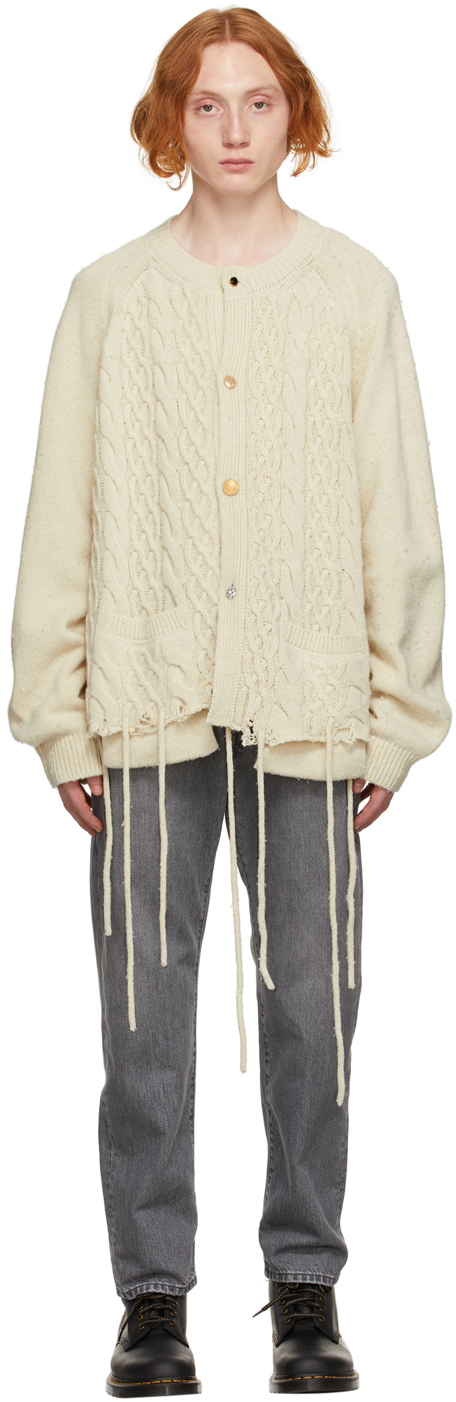 Beige Recycled Wool Cable Knit Cardigan