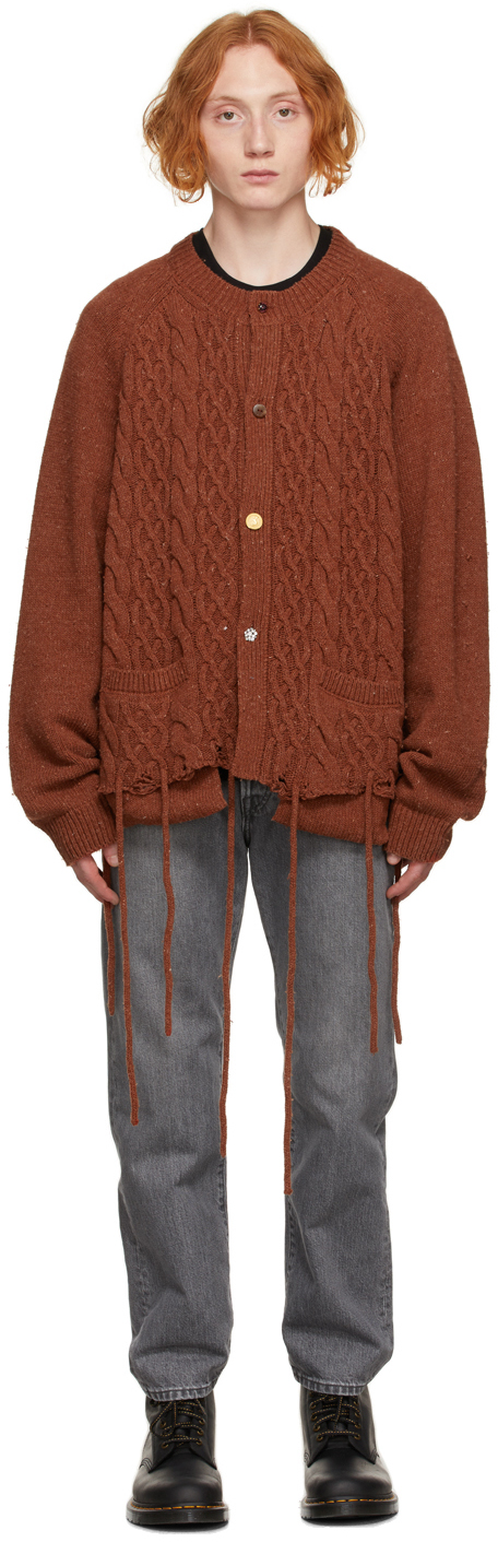 Brown Recycled Cable Knit Cardigan