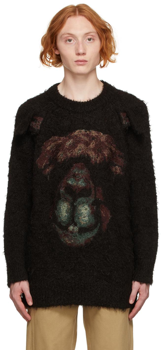 Black Knit Bear Jacquard Sweatshirt