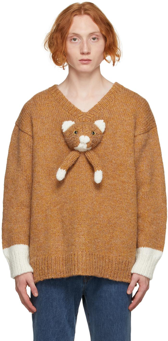 Brown & White Knit Cat V-Neck Sweater