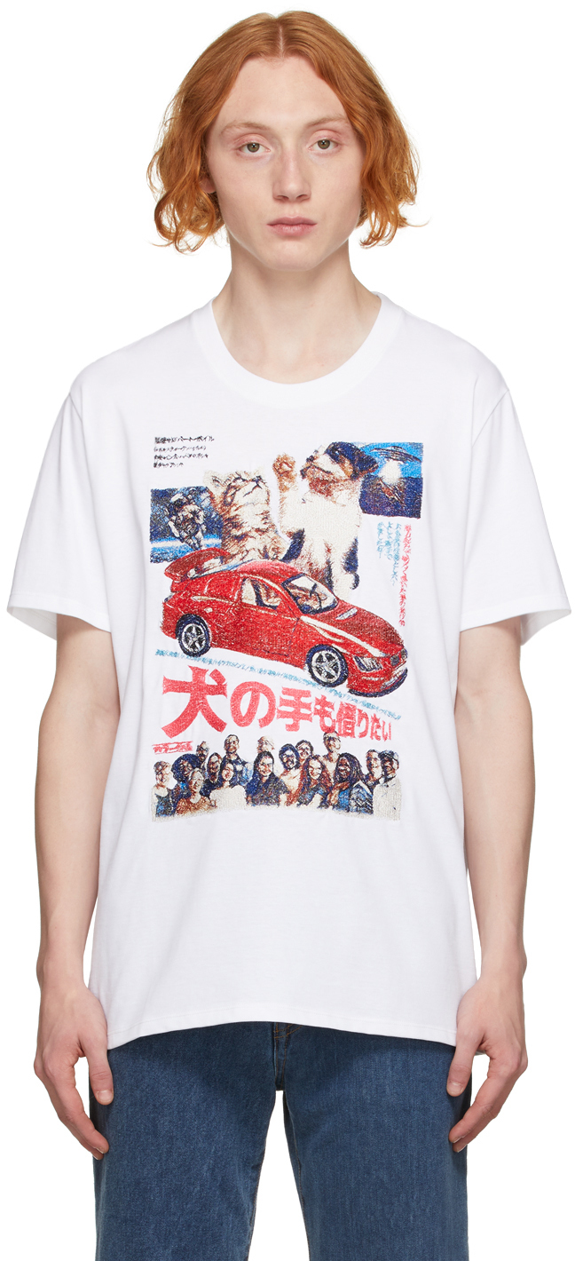 White Retro Poster Embroidery T-Shirt