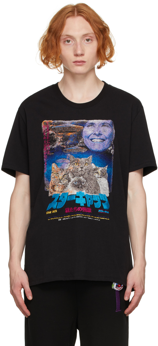 Black Retro Poster Embroidery T-Shirt