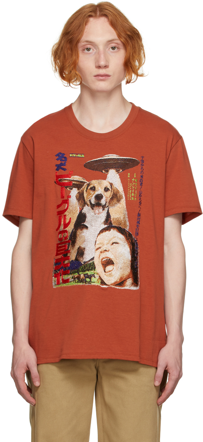 Brown Retro Poster Embroidery T-Shirt