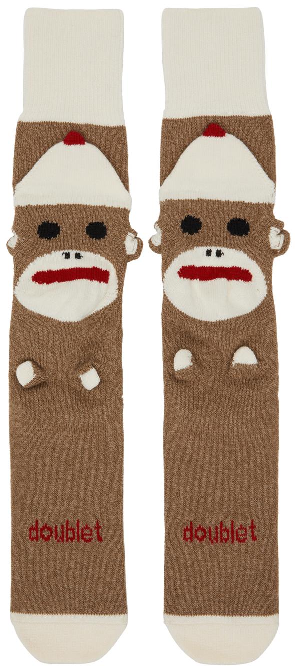 Brown Knit Sockmonkey Socks
