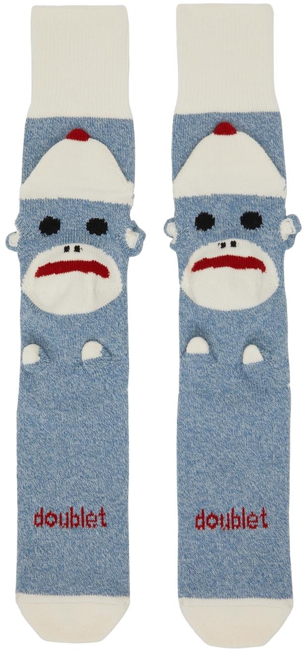 Blue Knit Sockmonkey Socks