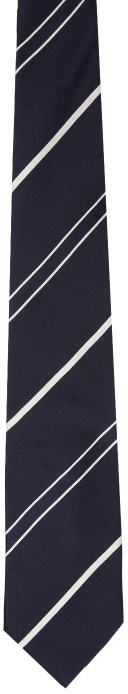 Navy & White Stripe Shape Memory Tie