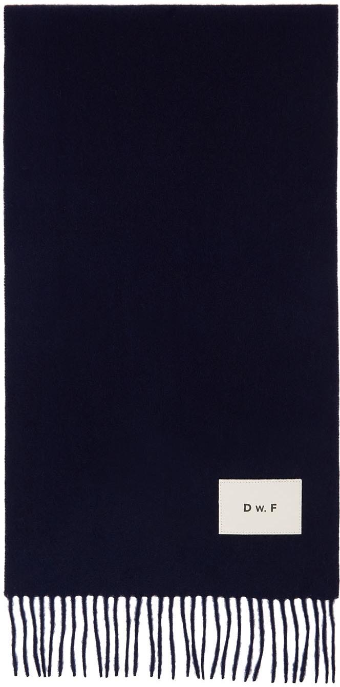 Navy Merino Logo Patch Scarf