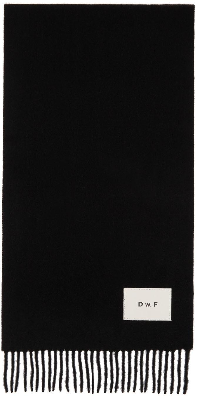 Black Merino Logo Patch Scarf