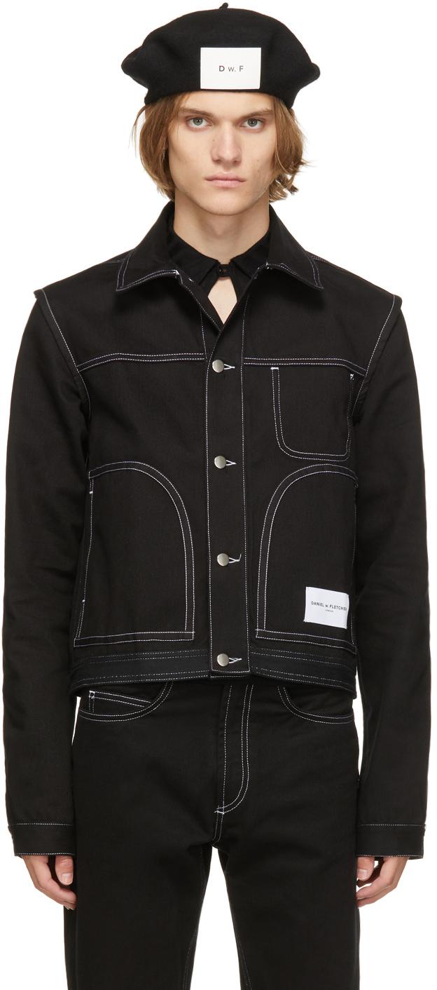 Black Denim Contrast Stitch Jacket