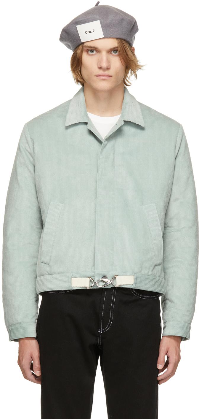 Blue Corduroy Padded Blouson Jacket