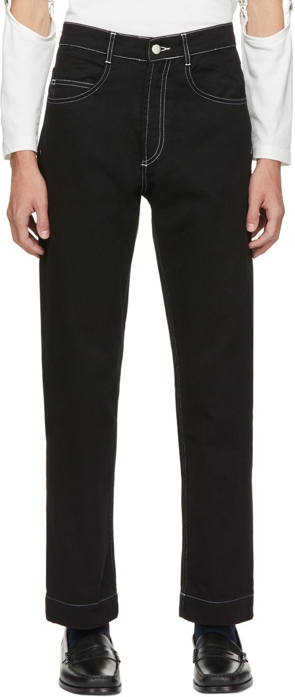 Black Contrast Stitch Straight Leg Jeans