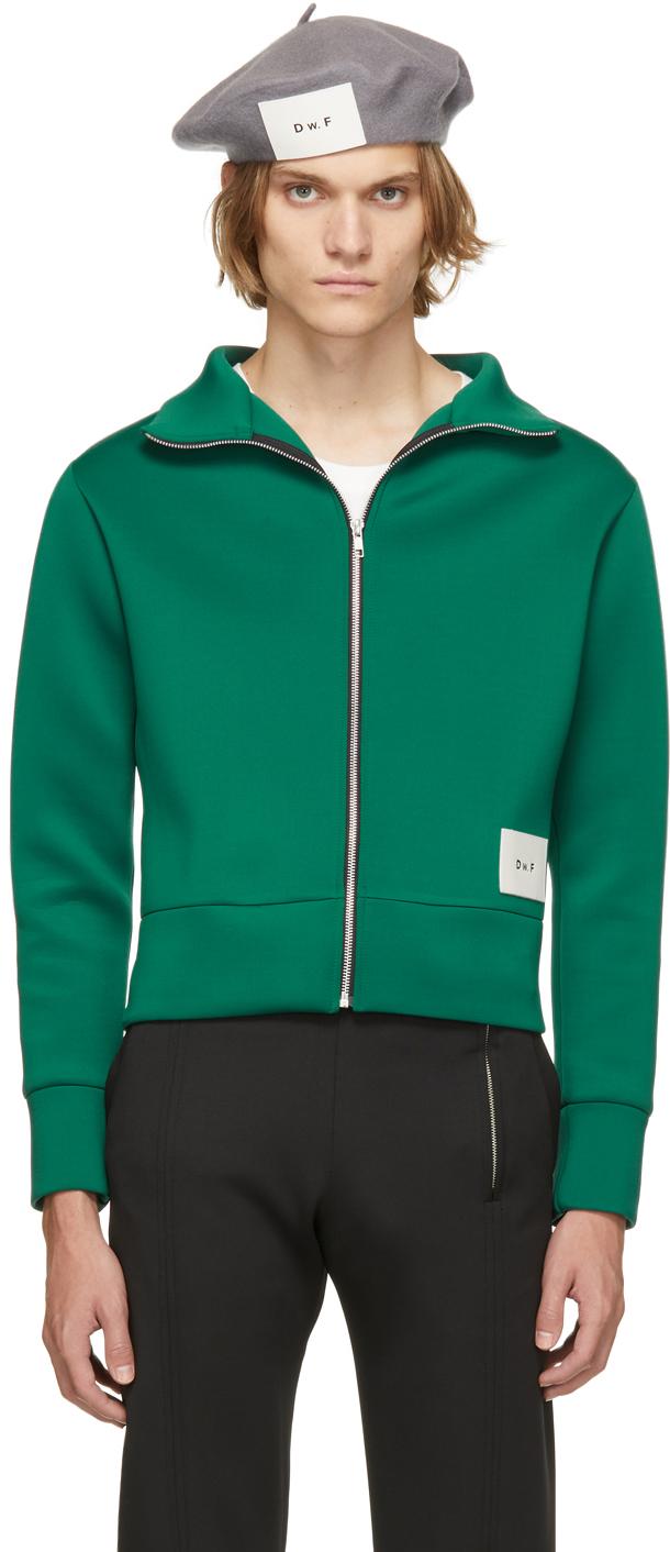 Green Jersey Zip-Up Sweater