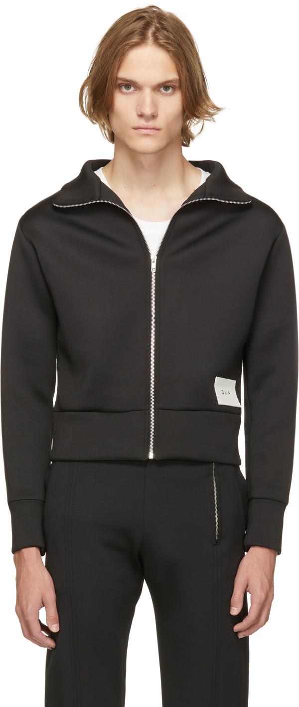 Black Jersey Zip-Up Sweater
