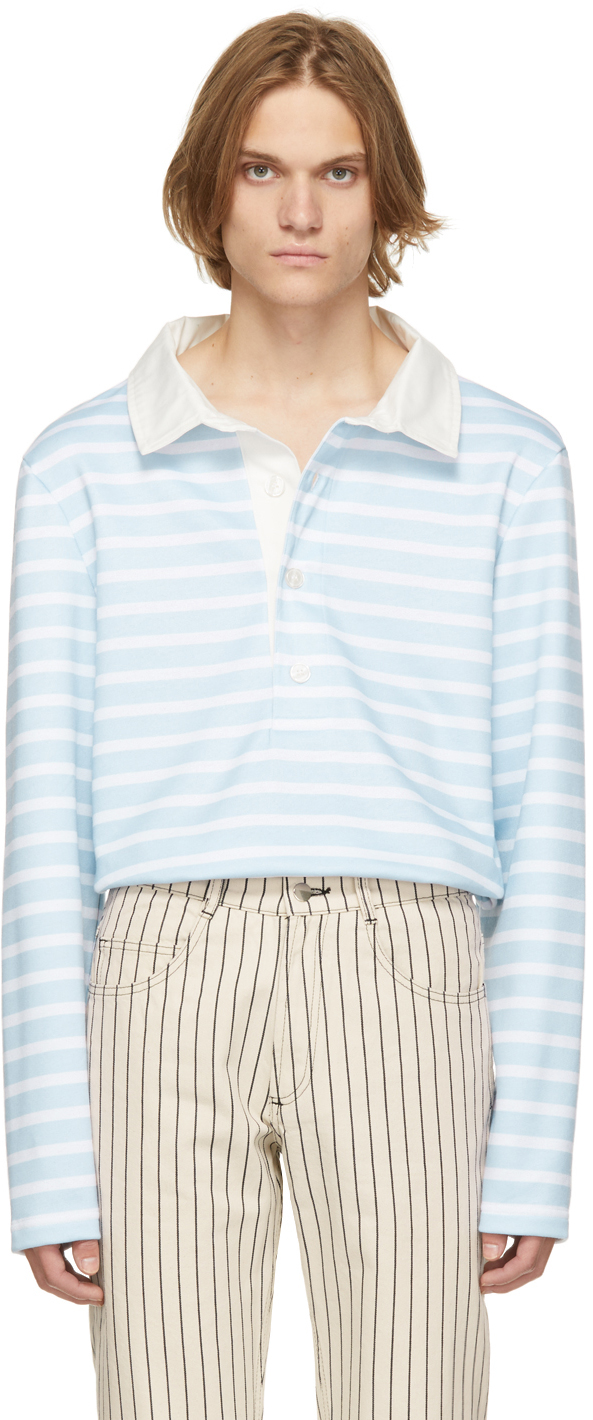 Blue Striped Rugby Long Sleeve Polo