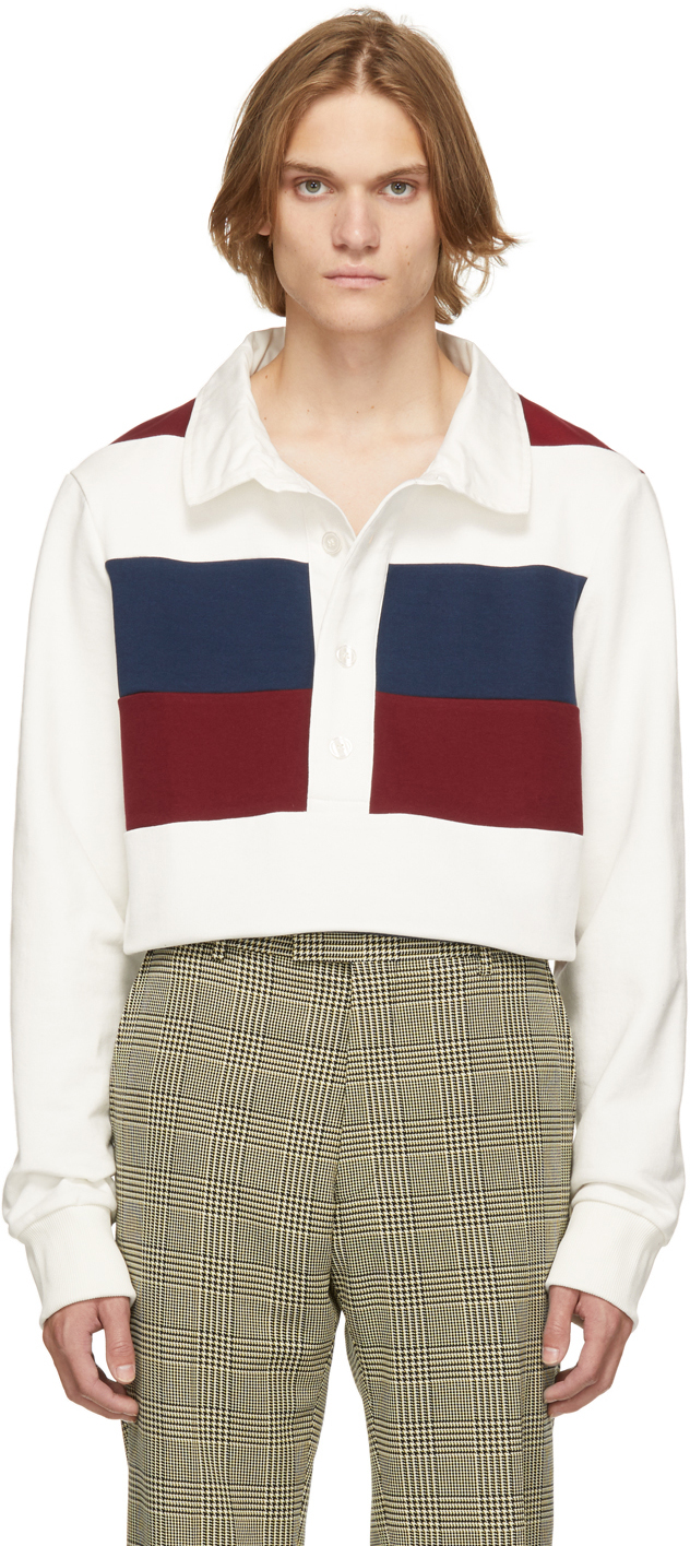 White Striped Rugby Long Sleeve Polo