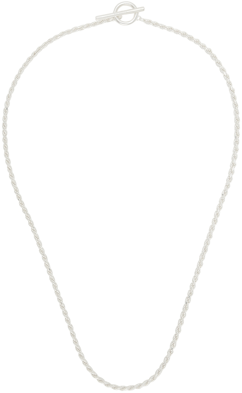 Silver Polished Rope Necklace