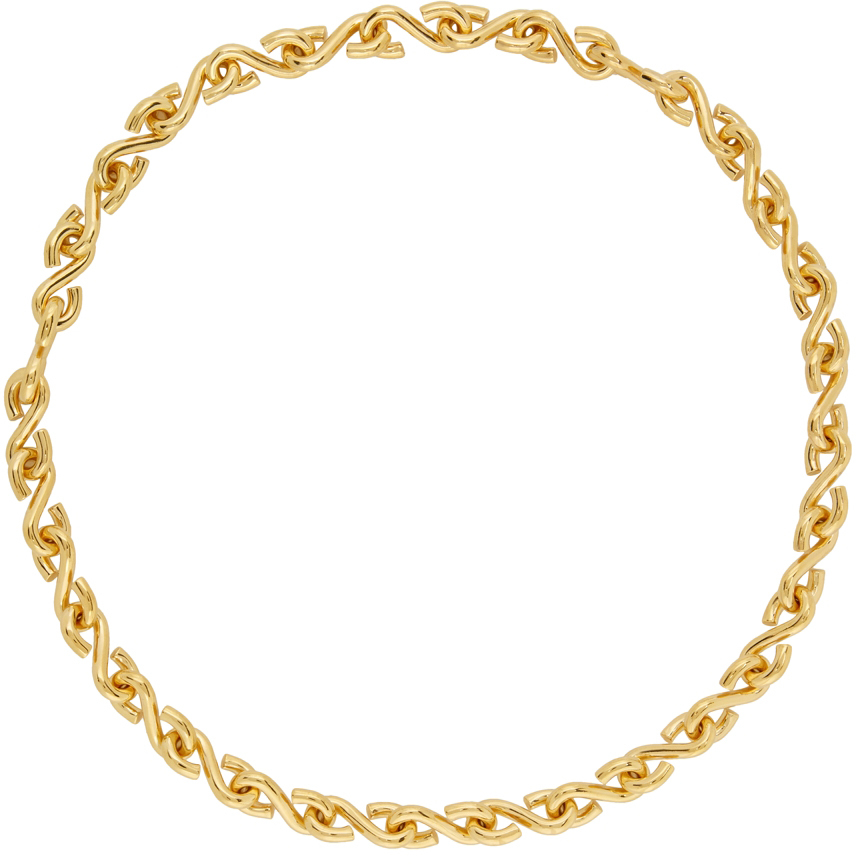 Gold Polished S Necklace