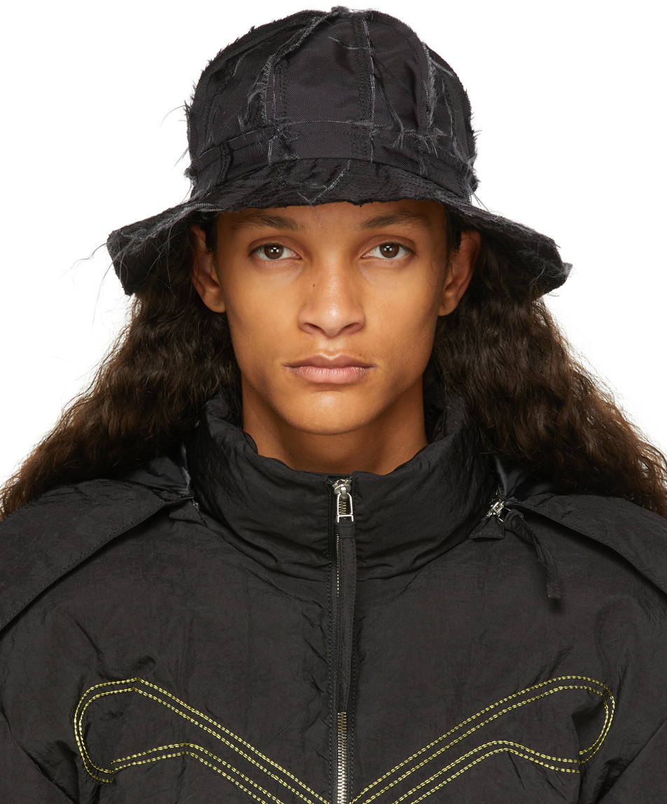 Black Patched Bucket Hat