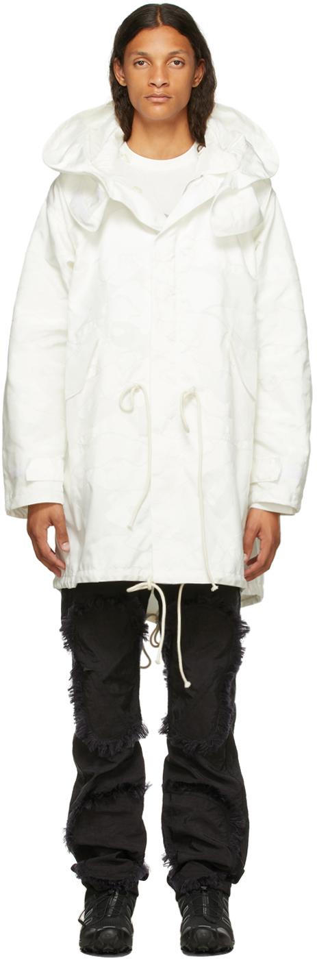 White Airbag Fishtail Coat