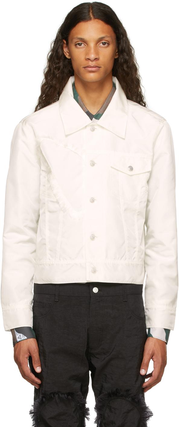 White Airbag Fringe Patch Jacket
