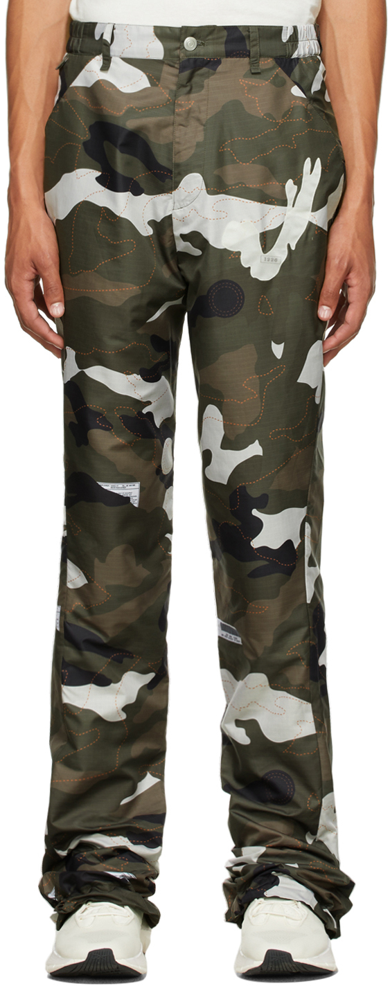 Green Airbag Camouflage Flare Trousers