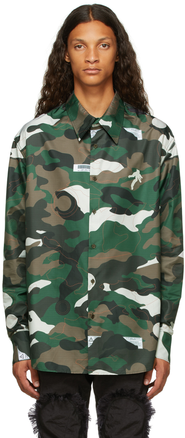 Green Airbag Patched Shirt