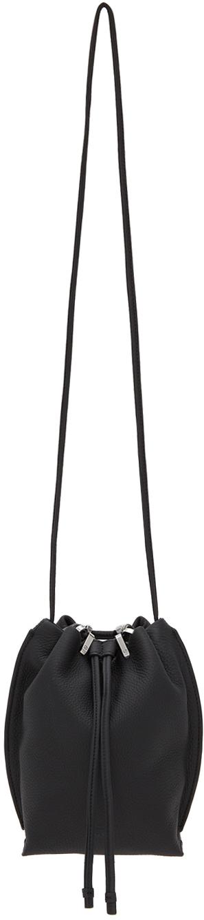 Black Dayton Drawstring Bucket Bag