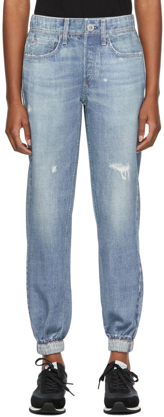 Blue Trompe L'oeil Miramar Jogger Lounge Pants