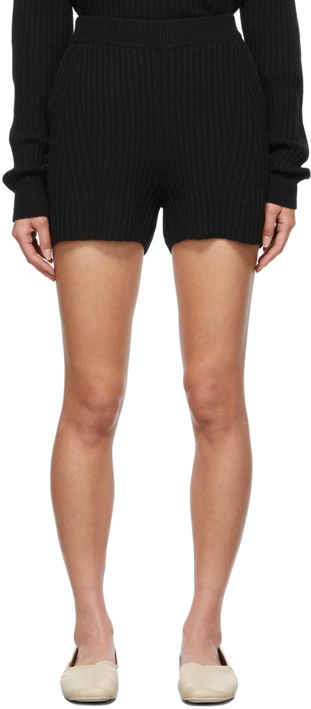 Black Rib Knit Maxine Shorts
