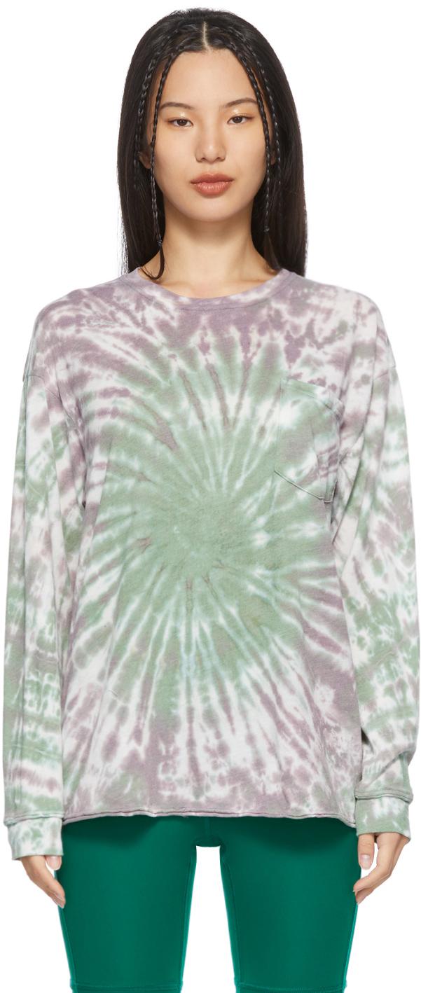 Green & Purple Tie-Dye Long Sleeve T-Shirt