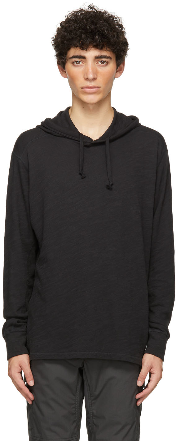 Black Cotton Carded Flame Hoodie