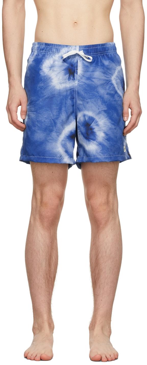 Blue Shibori Swim Shorts