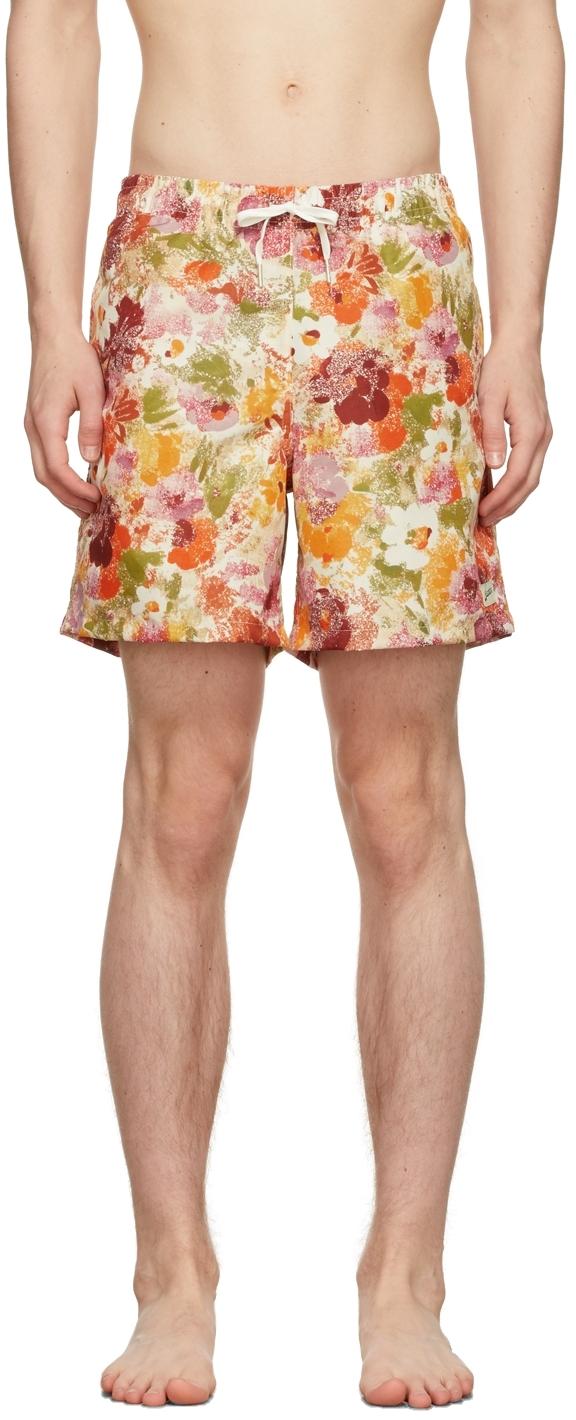 Orange & Pink Garden Floral Swim Shorts