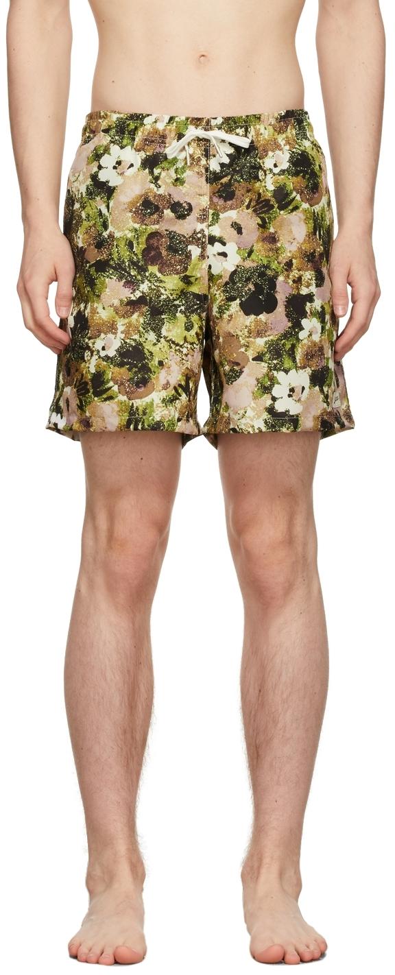 Green & Brown Garden Floral Swim Shorts