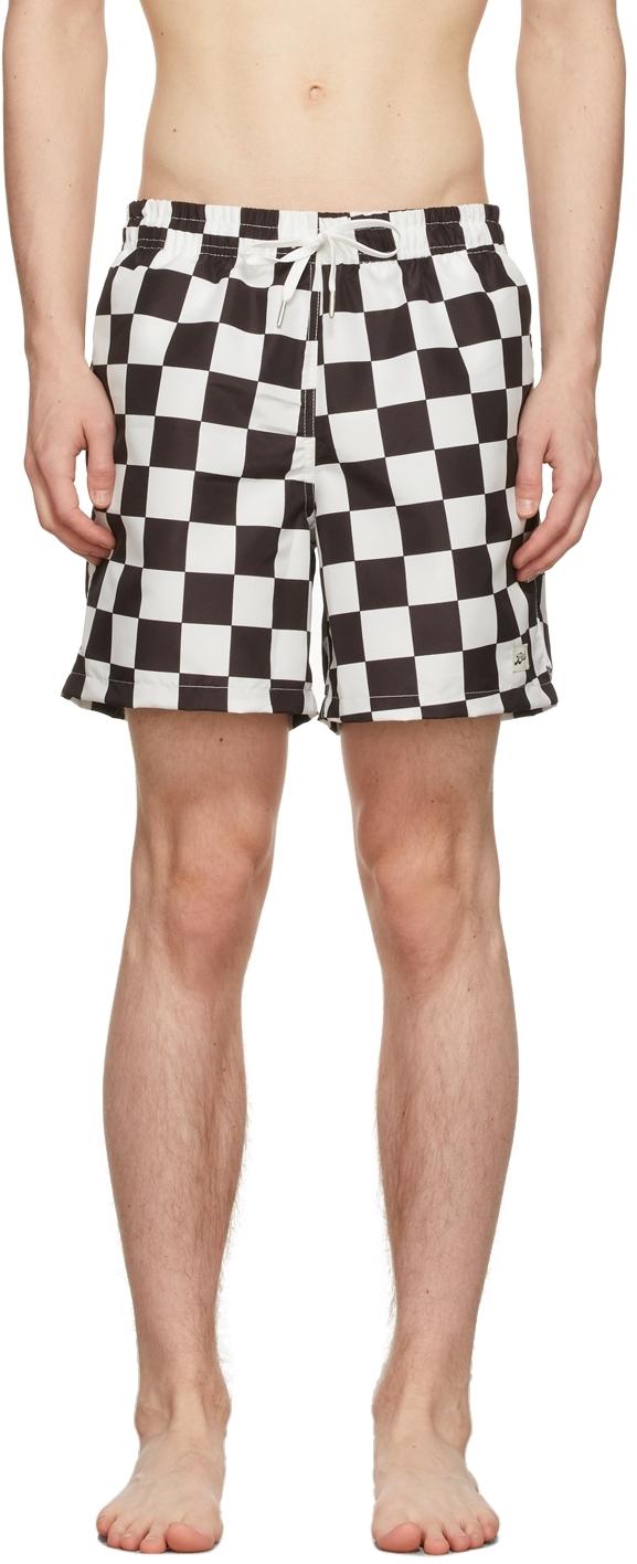 Black & White Checkerboard Swim Shorts