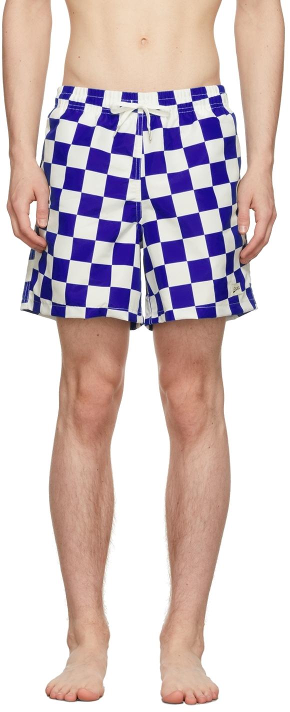 Blue & White Checkerboard Swim Shorts