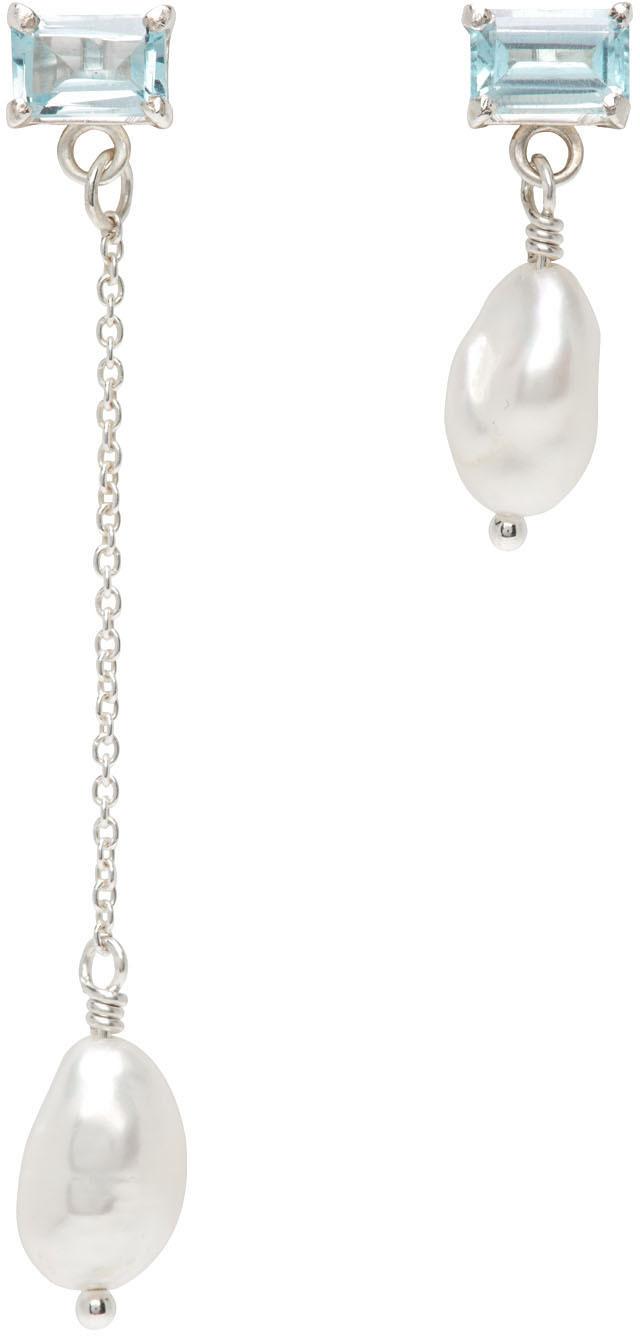 SSENSE Exclusive Silver & Blue Topaz Gemma Drops Earrings